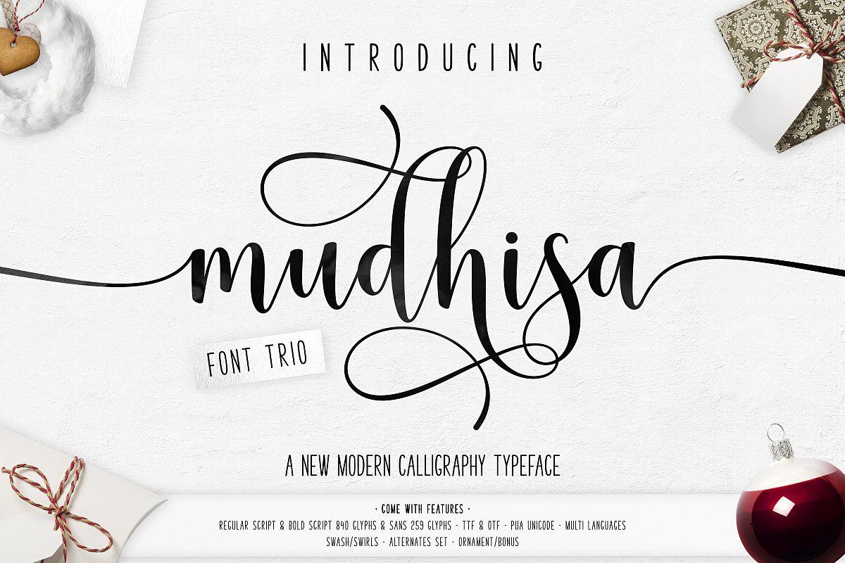 Mudhisa Script Font Trio example image