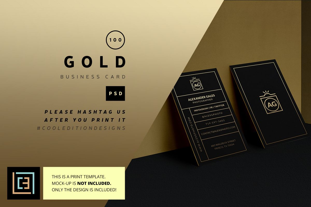 Gold Business Card - BC100 by Coolediti | Design Bundles