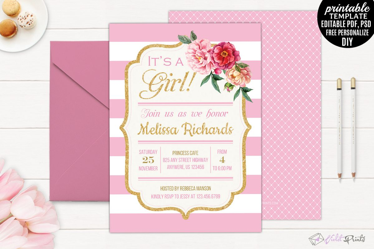 Gold and pink flowers girl baby shower design bundles gold and pink flowers girl baby shower invitation template example image filmwisefo