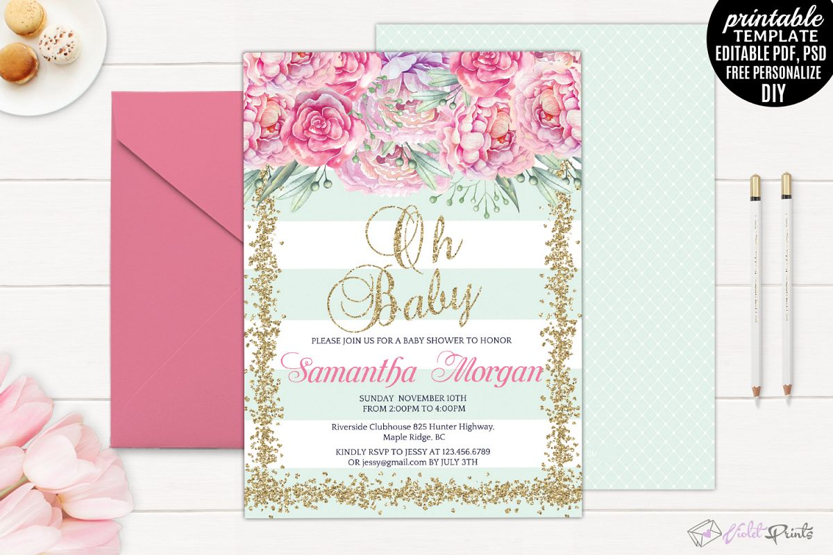 tips invitations designs shower the baby appearance silverlininginvitations create and pink gold beauteous templates to ideas easy
