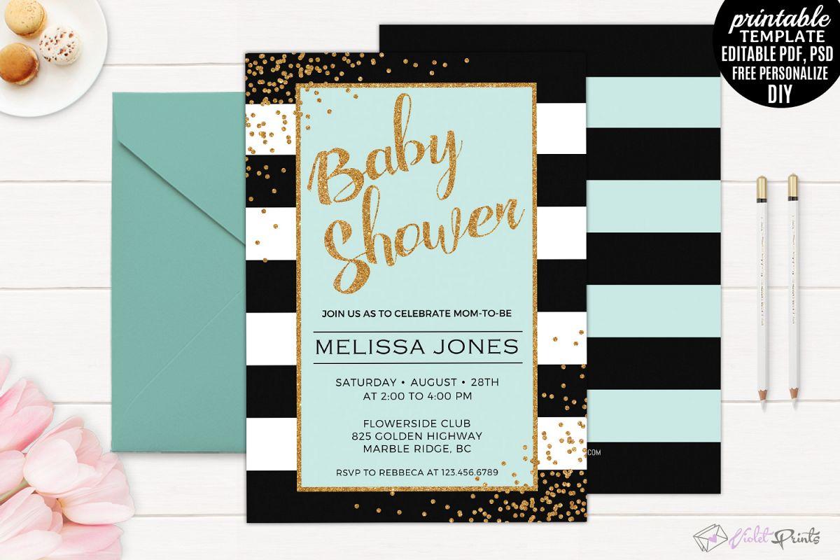 Mint Black and Gold baby Shower Invitat | Design Bundles