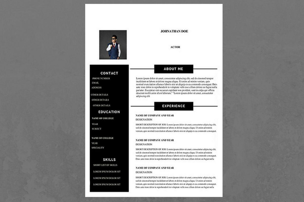 Black and White Modern Resume by CanvaN | Design Bundles