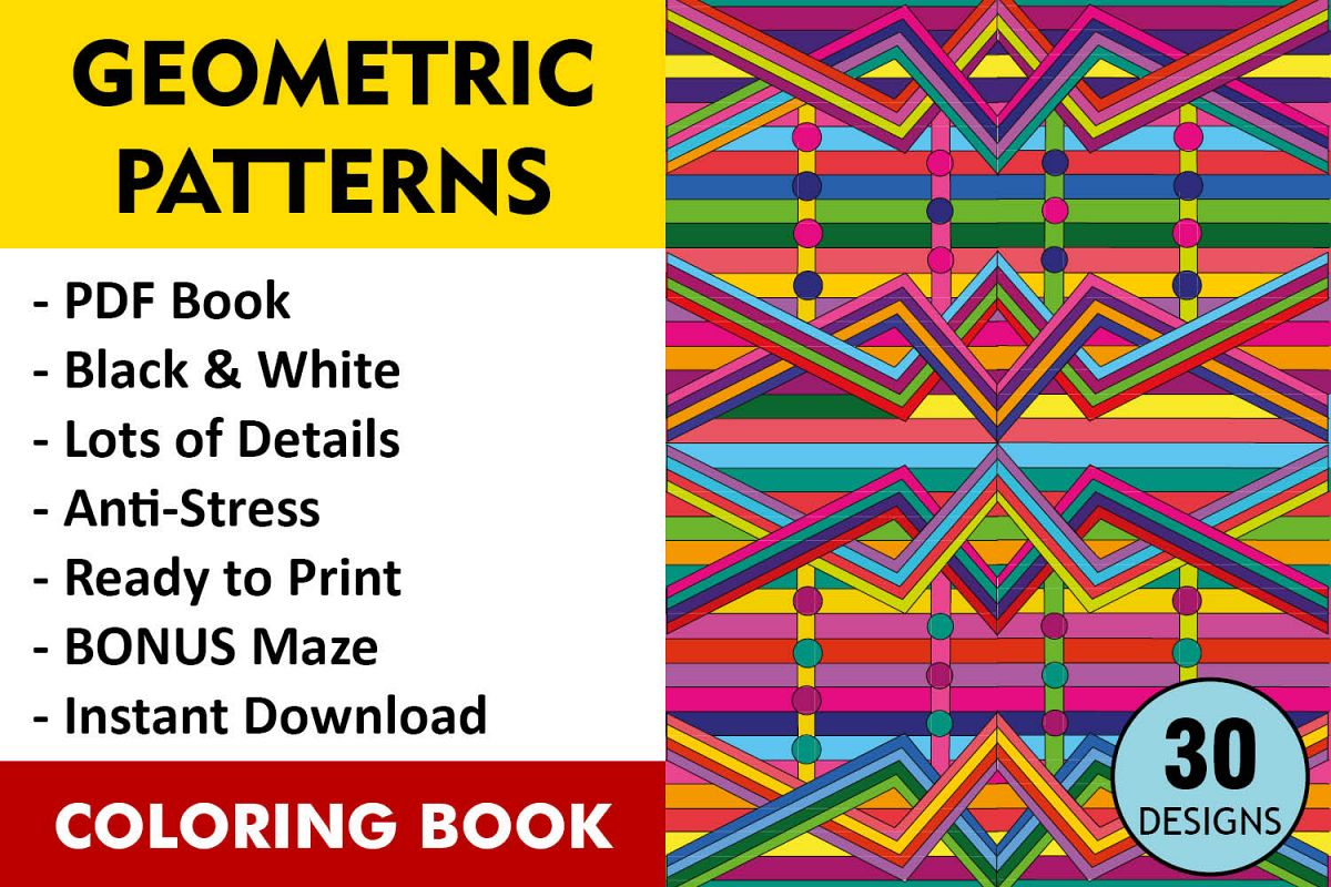 Geometric Patterns Coloring Book 30 Designs Example Image