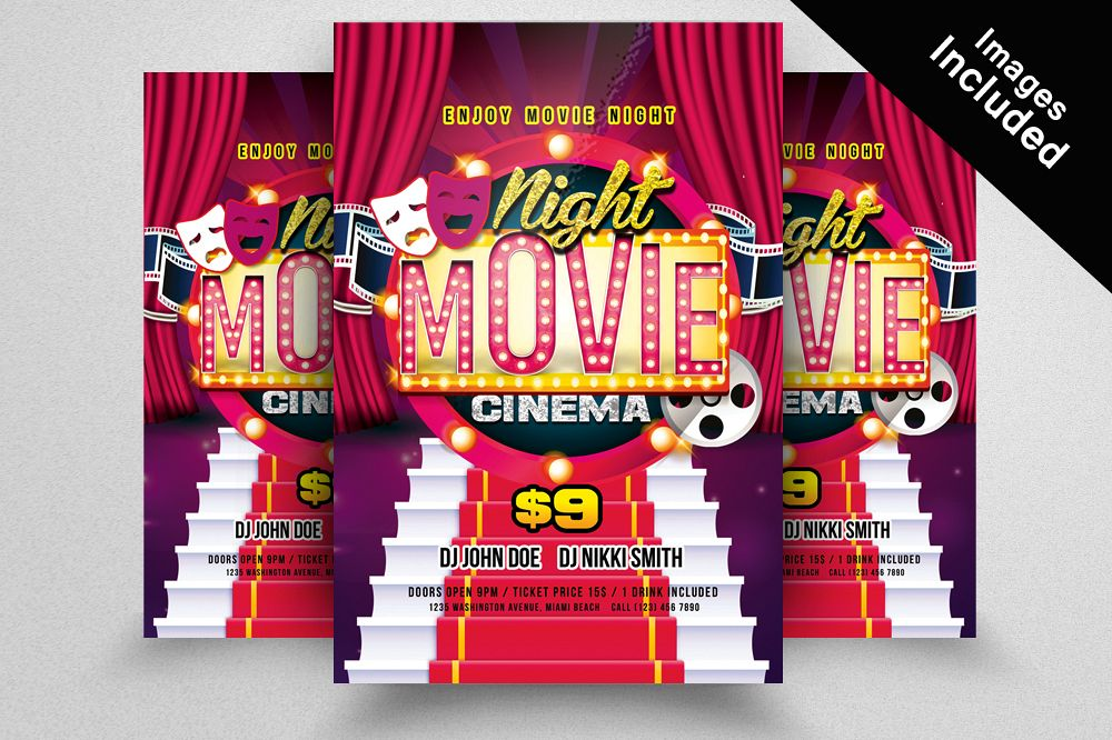 Movie Night Flyer Template By Designhub  Design Bundles