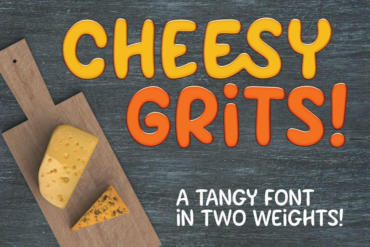 Cheesy Grits: a tangy font in 2 weights! example image