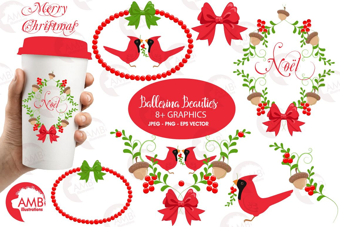 Christmas Greetings Embellishments Cli Design Bundles