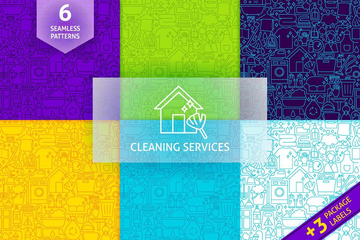 Cleaning Services Line Tile Patterns by   Design Bundles