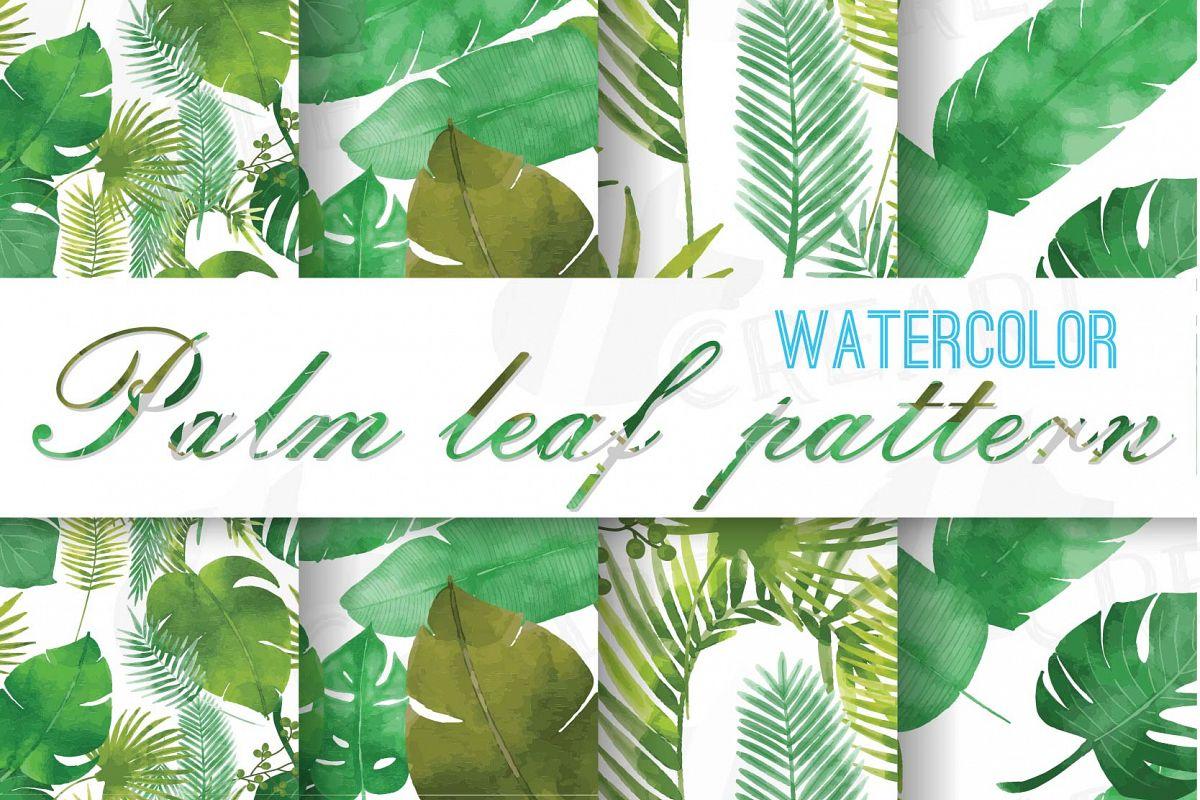Palm Leaf Pattern Tropical Leaves Digital Paper Scrapbook Background