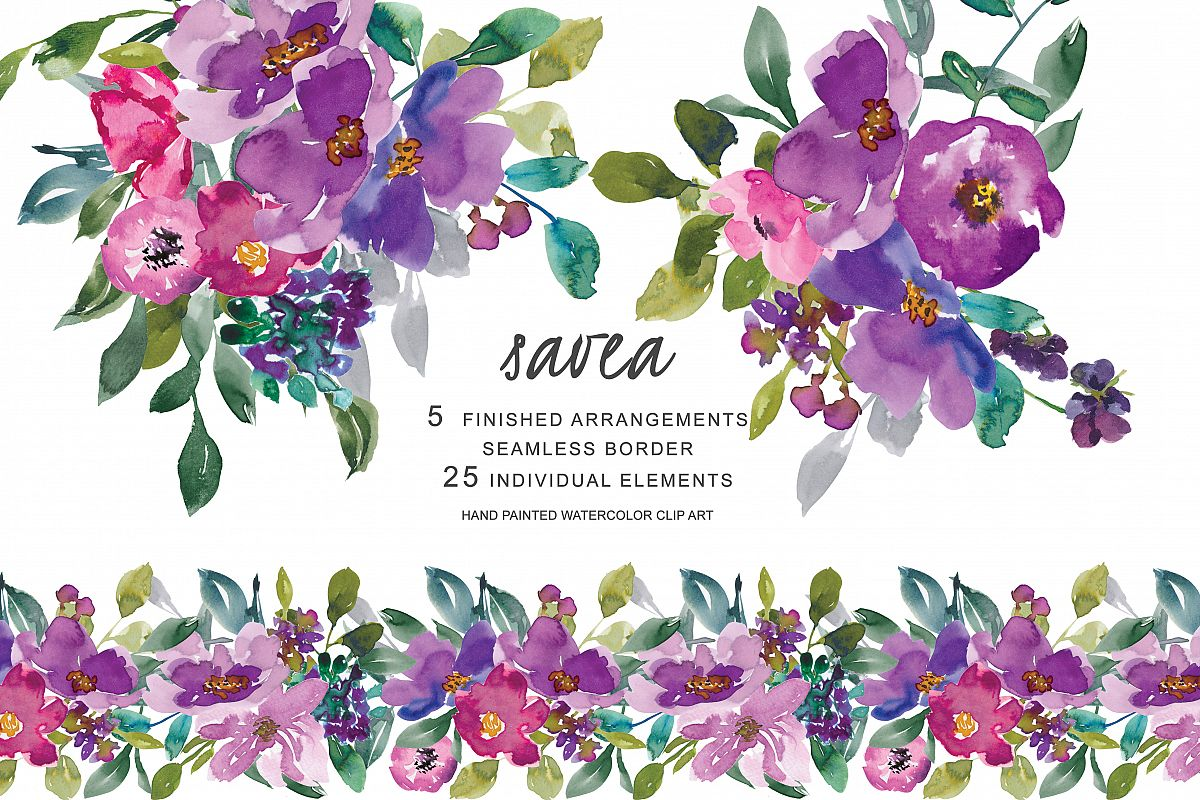 Hand Painted Watercolor Purple Flowers Clip Art Colorful Florals Arrangement Elements Seamless Border Example Image