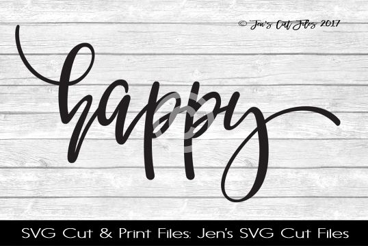 Happy SVG Cut File example image