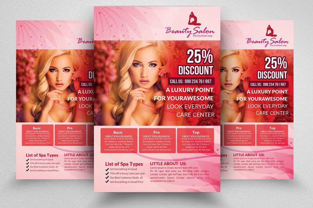 Beauty Care Salon Flyer Template By De Design Bundles