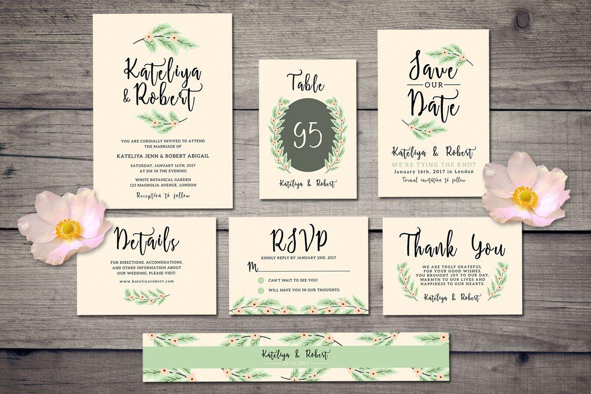 Nature Wedding Invitation Suite by iamw | Design Bundles