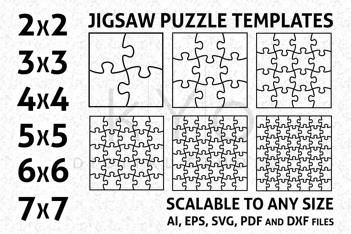 Jigsaw Puzzle Template AI EPS SVG DXF f | Design Bundles