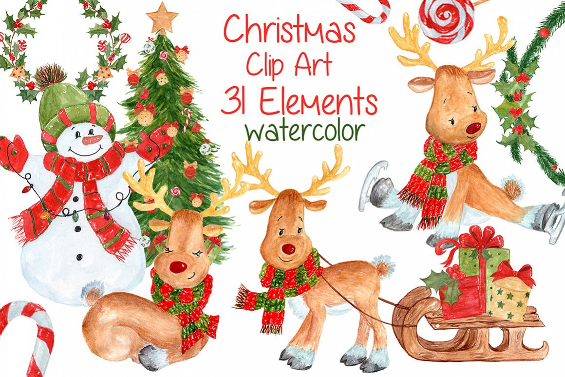 Watercolor Christmas kids clipart example image