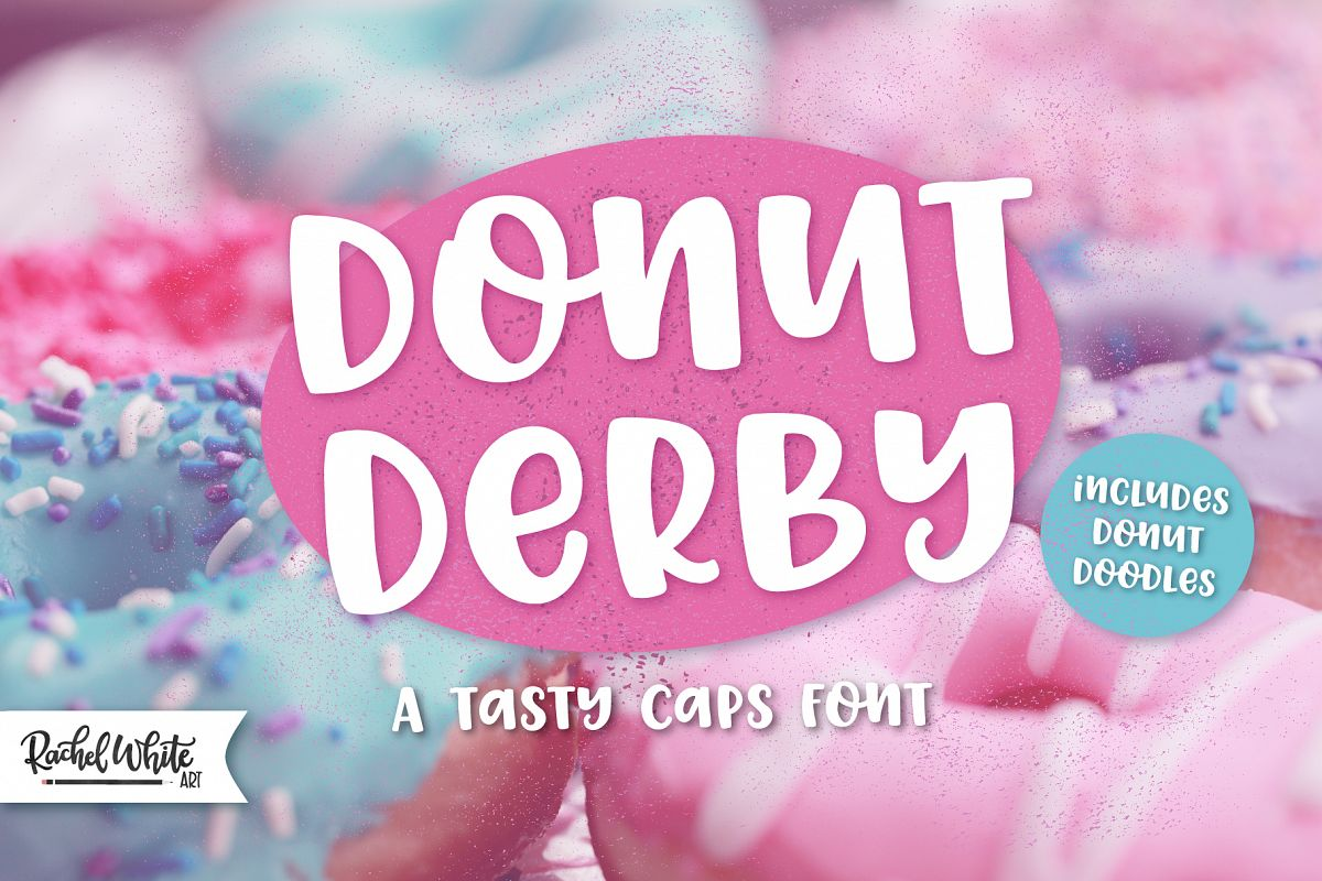 Donut Derby, a tasty caps font example image