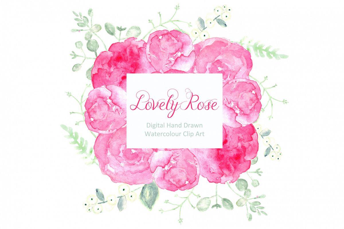 lovely roses watercolor clip artlab | design bundles