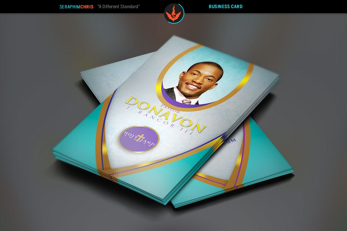 Royal Teal Church Business Card Template example image