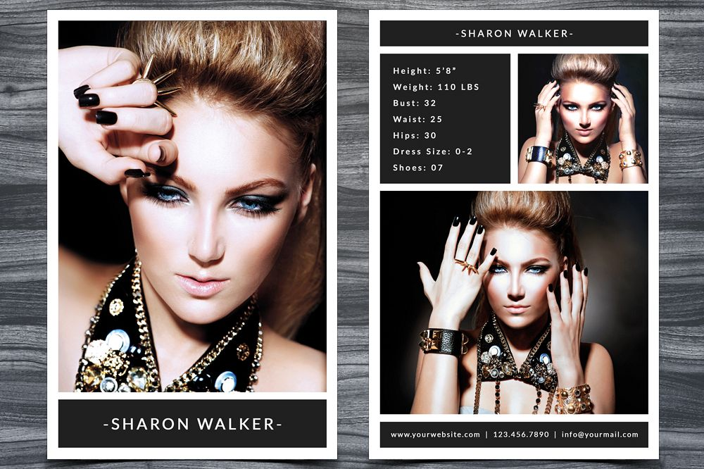 Model Comp Card Template By NMDesignS Design Bundles - Model comp card template