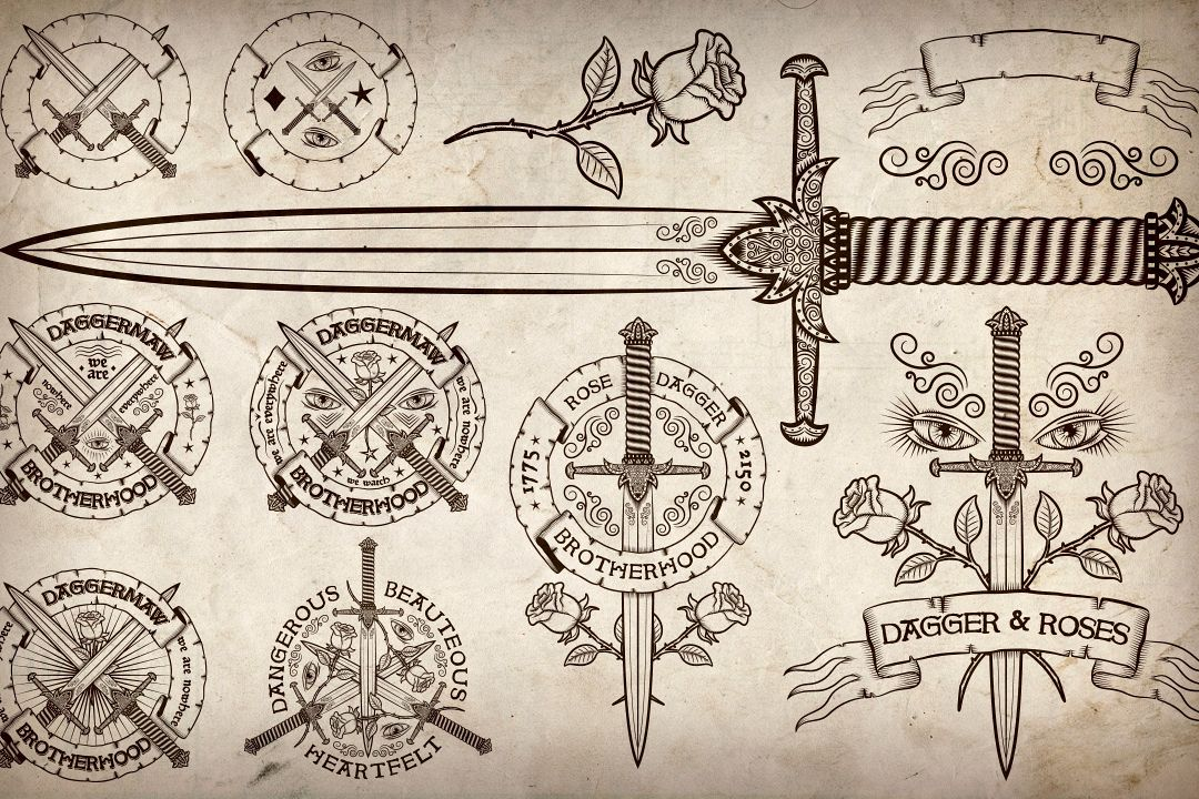 Dagger and Rose vintage logos example image