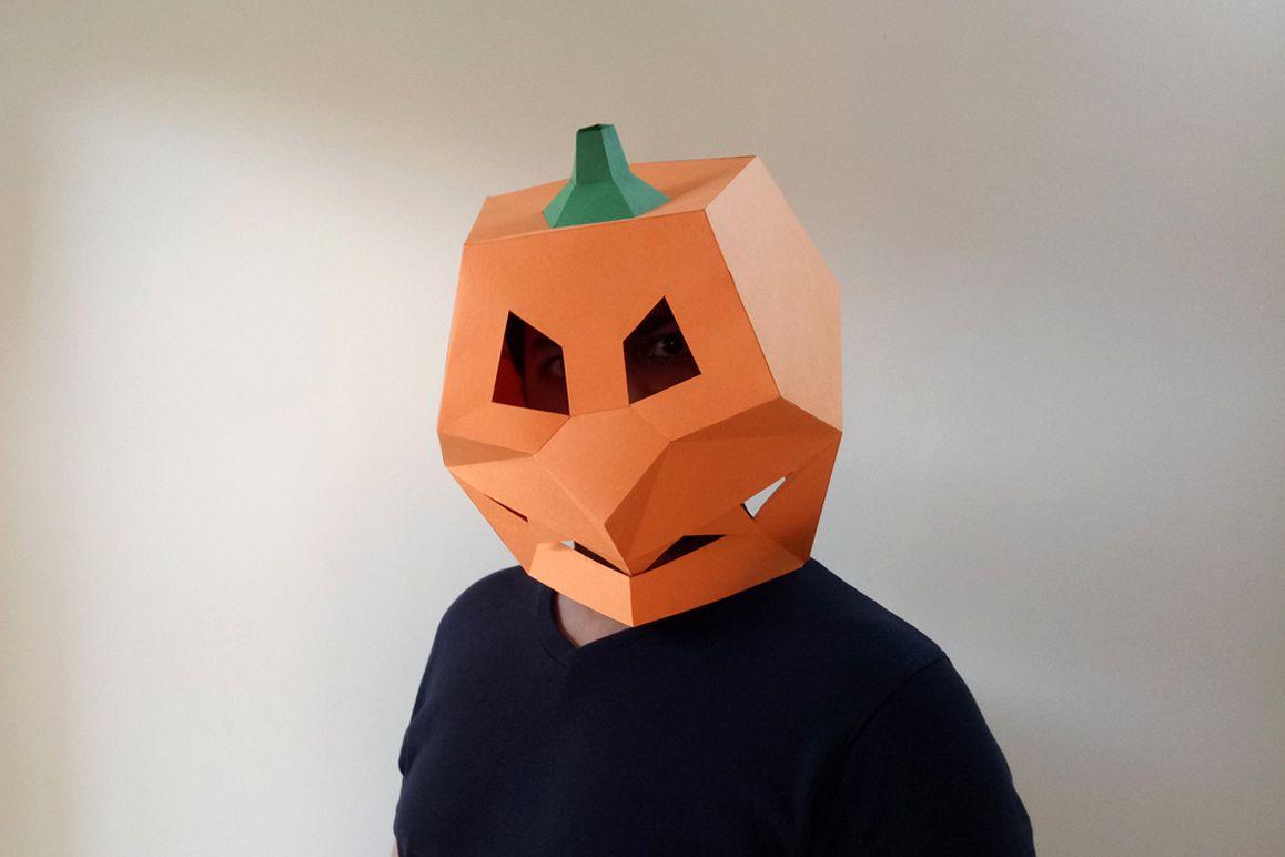 DIY Pumpkin Mask - 3d papercraft example image