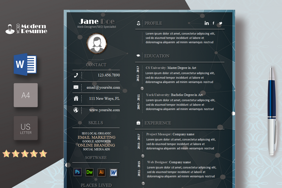 Elegant Resume Template | Modern Resume | Design Bundles