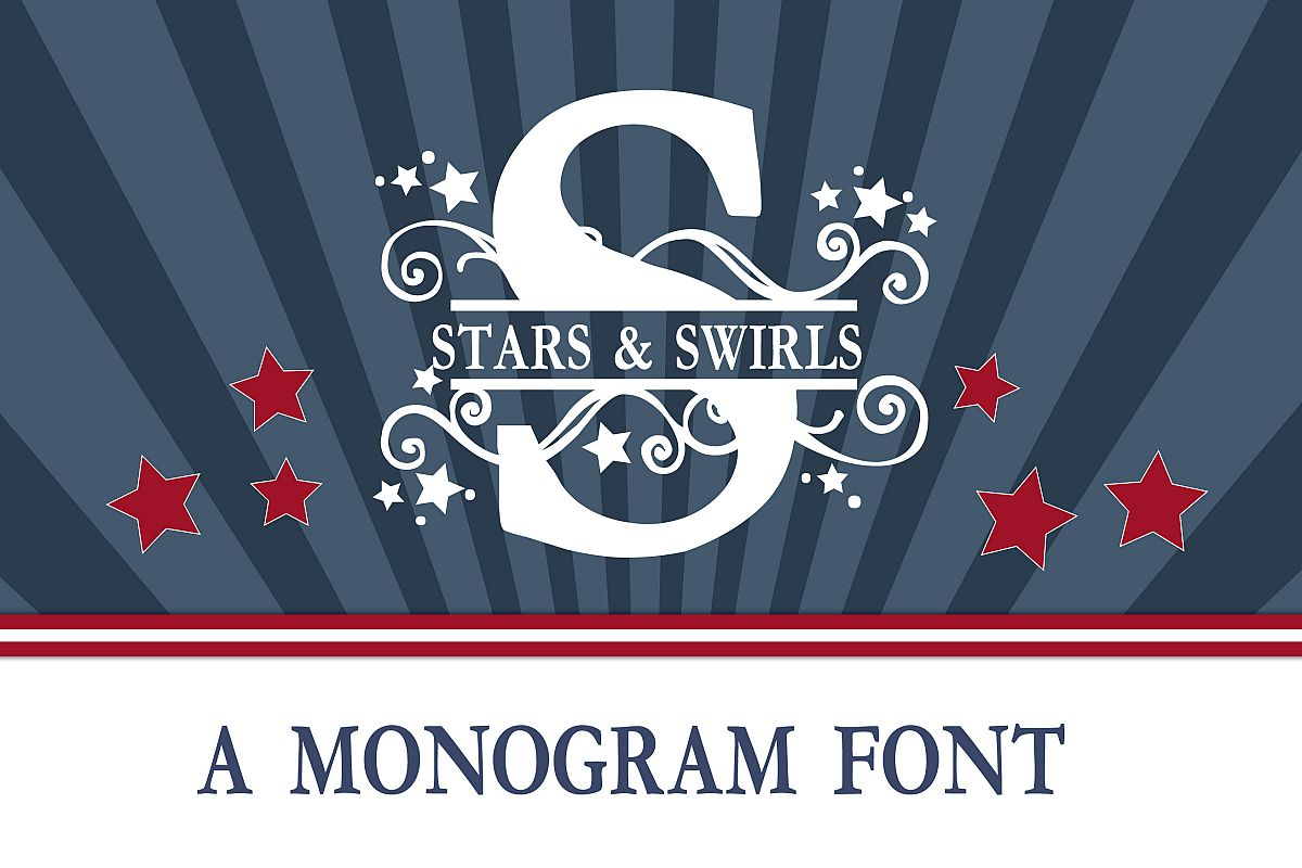 PN Stars & Swirls Monogram Banner Font example image