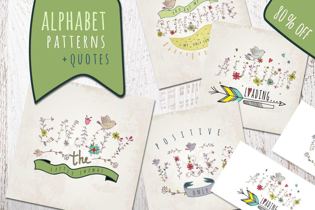 Floral & birds. Alphabet/patterns example image