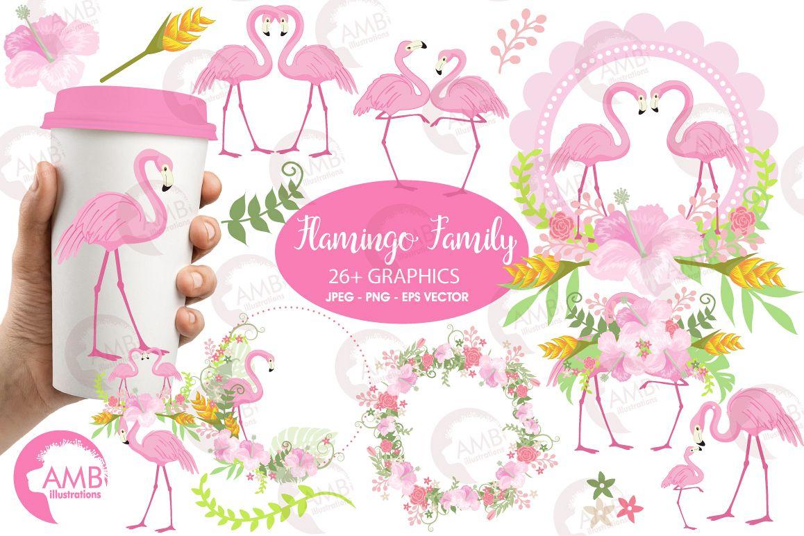 Flamingos clipart mega pack, graphics, illustrations AMB-1047 example image