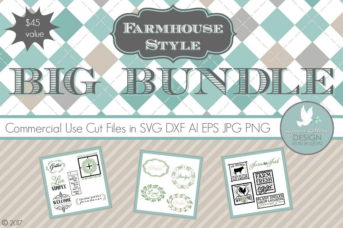 Farmhouse Style Big Bundle LLBB002 Cut files in SVG DXF EPS AI JPG PNG example image