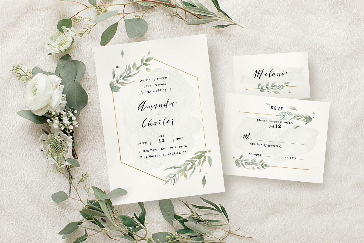 Modern Gold Foliage Wedding Suite by kl | Design Bundles