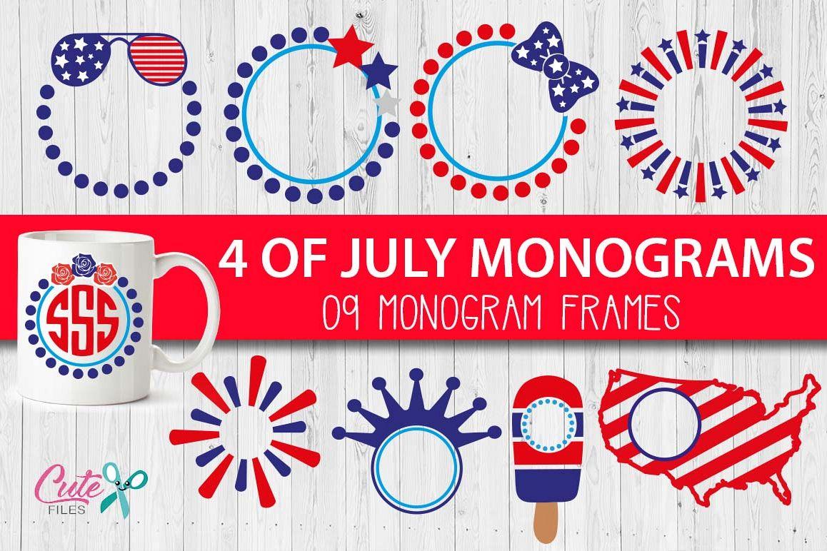 MONOGRAMS FRAMES patriotic , 4th of Ju | Design Bundles