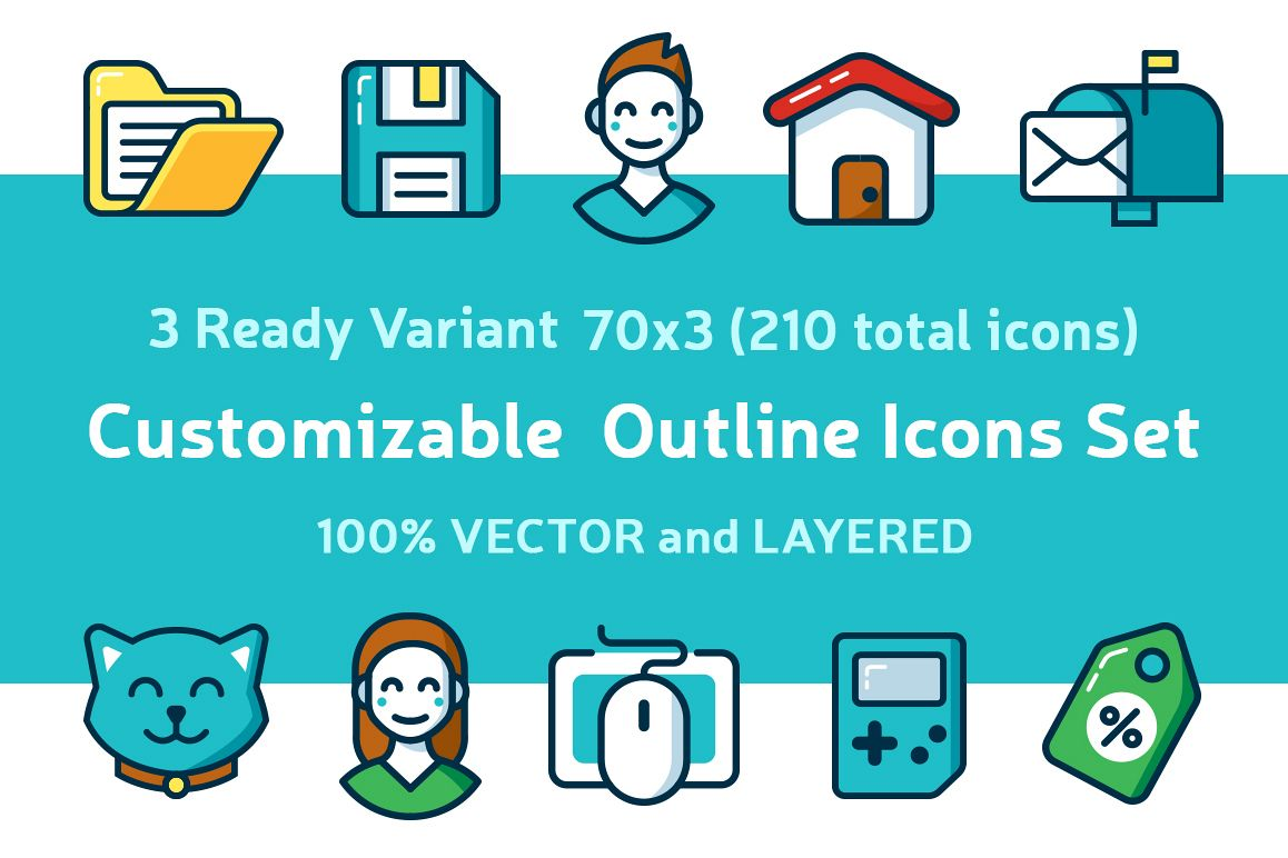 Customizable Outline Icons Set example image