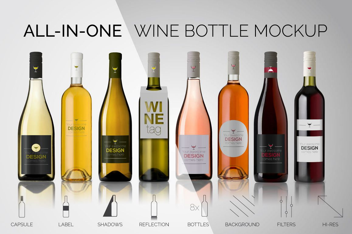 All-In-One Wine Bottle Mockup example image