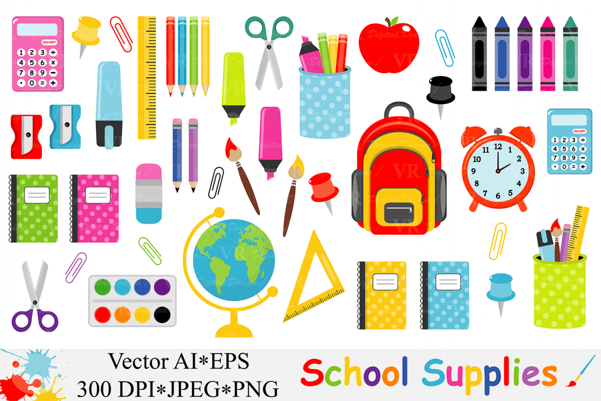 school supplies clipart back to school design bundles rh designbundles net clipart school supplies free clip art school supplies free printables