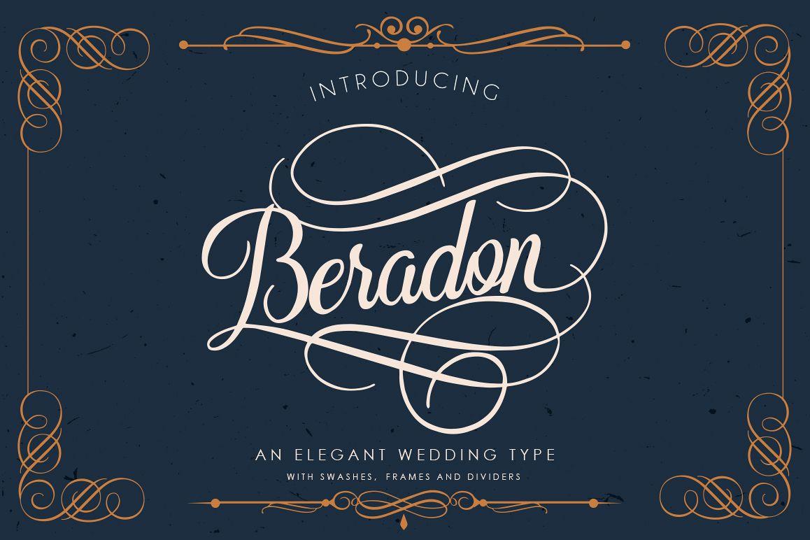 Beradon Script - Elegant Wedding font example image