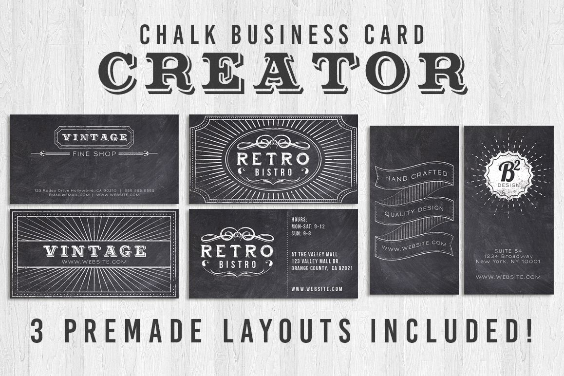 Chalk Business Card Creator by Lucion C | Design Bundles