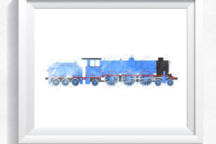 Thomas the train inspired train wall ar | Design Bundles
