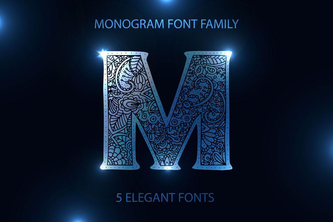 Monogram. 5 elegant fonts. example image