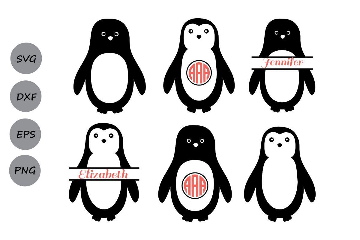 penguin svg files, penguin monogram svg | design bundles