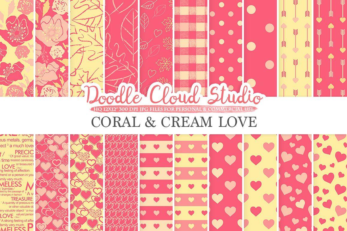 Coral And Cream Romantic Digital Paper Design Bundles