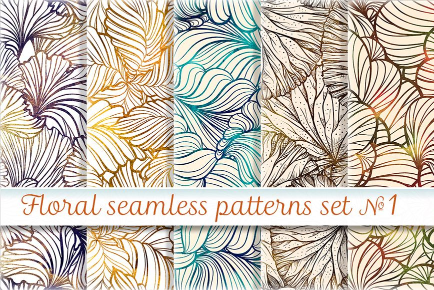 Floral seamless patterns set example image