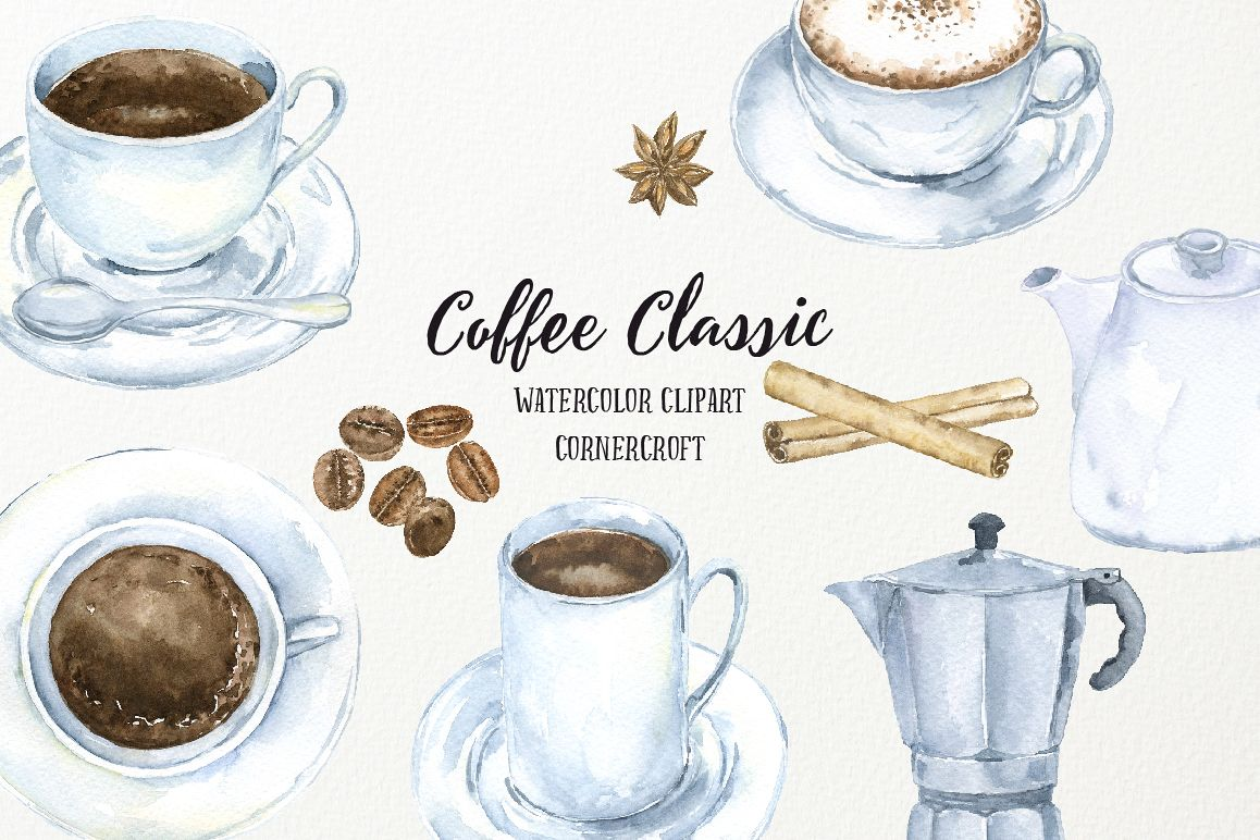 Watercolor coffee classic by corner cro design bundles for Coffee watercolor