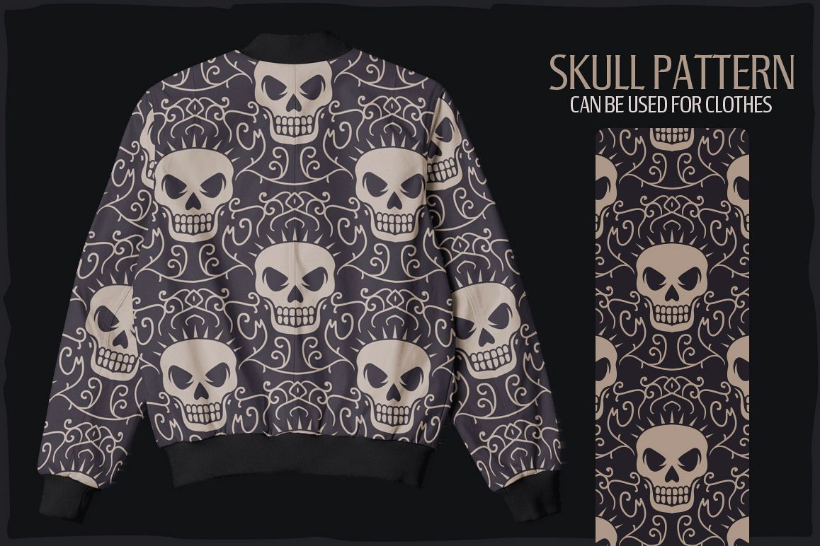 20 Skull Seamless Vector Patterns example image 4