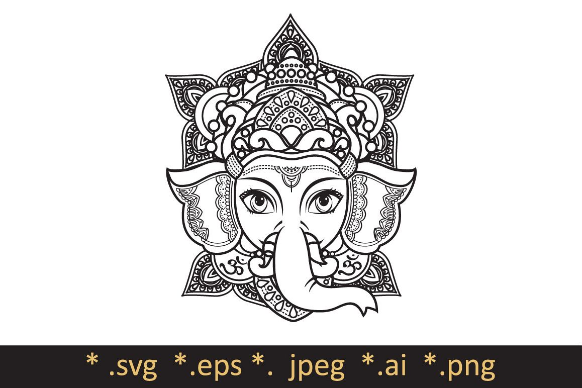Lord Ganesha. Template for coloring boo | Design Bundles