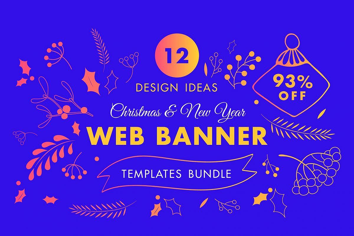 Winter Web Banner Design Templates Bund | Design Bundles