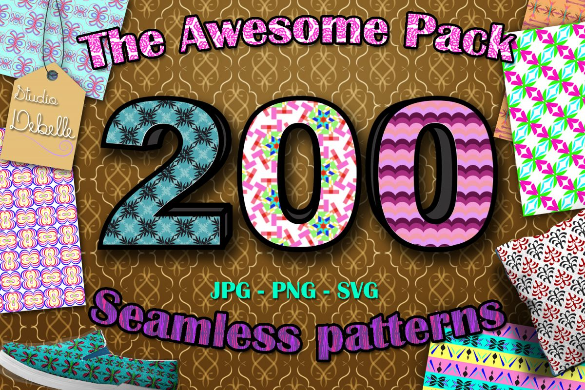 The Awesome Pack - 200 Seamless Patterns Digital Papers example image