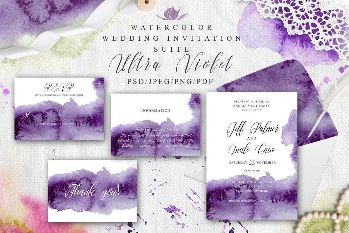 Ultra Violet Watercolor Wedding Invitat Design Bundles