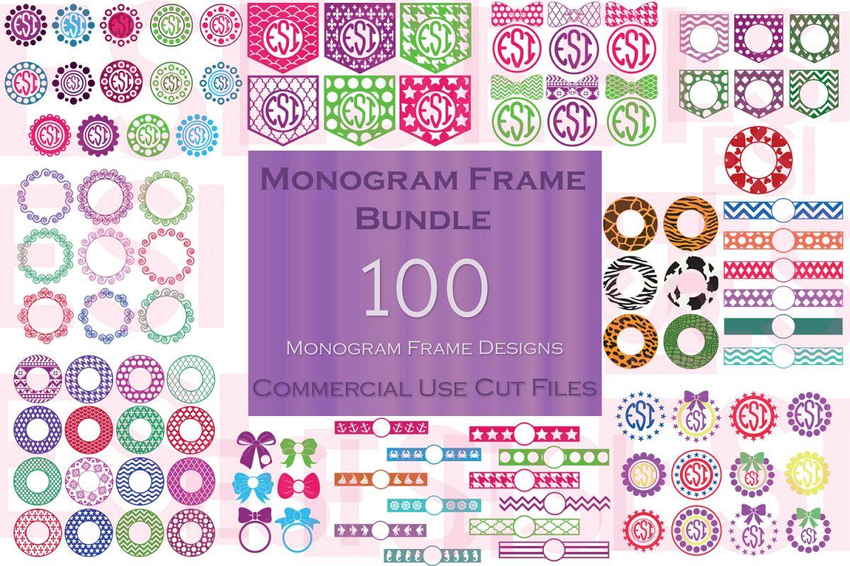 Monogram Frame Bundle - 100 Frames for Monogramming. example image