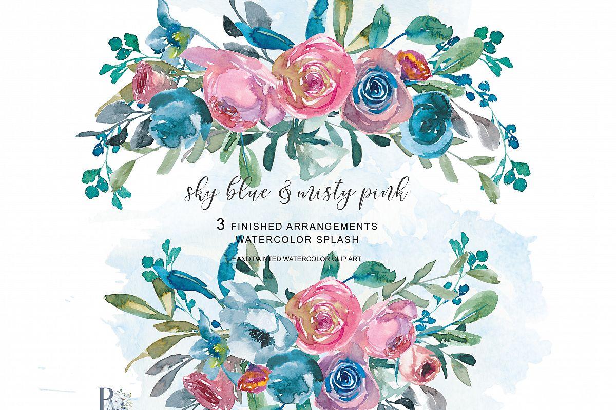 Watercolor Sky Blue & Misty Pink Flower | Design Bundles