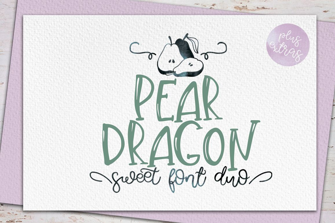 Pear Dragon.Sweet font duo&extras example image